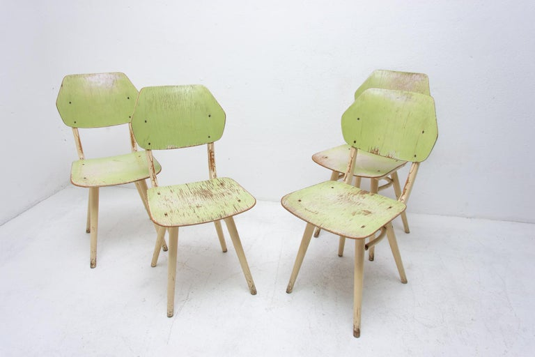 Midcentury Dining Chairs TON, Set of Four, 1960s In Good Condition For Sale In Prague 8, CZ