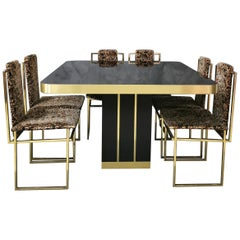 Midcentury Dining Set of 6 Chairs in Golden and a Table in Wood, Italy, 1970s