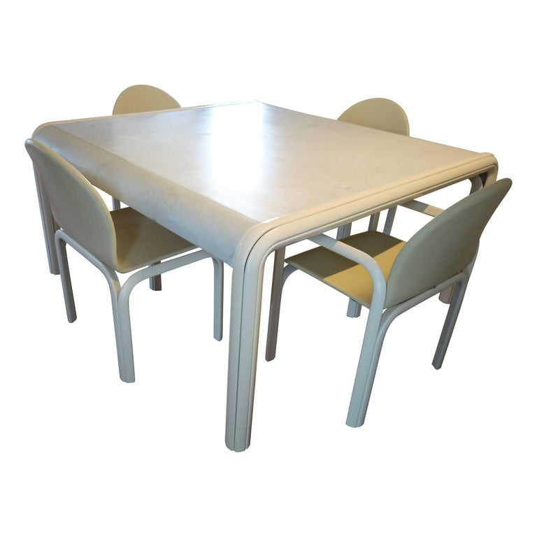Aluminum Midcentury Dining Set Orsay Designed by Gae Aulenti for Knoll International For Sale