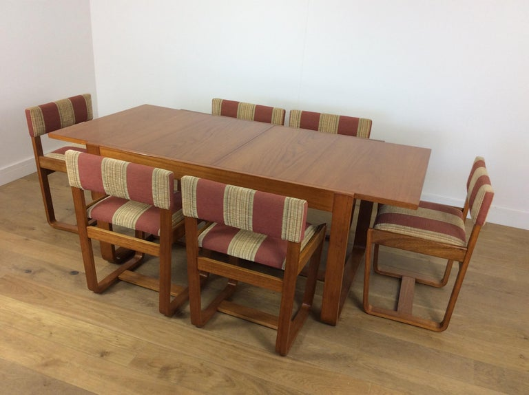 Strange Midcentury Dining Table And Six Chairs By Uniflex Ibusinesslaw Wood Chair Design Ideas Ibusinesslaworg