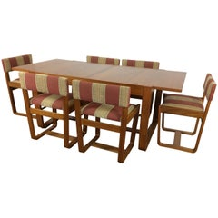 Midcentury Dining Table and Six Chairs by Uniflex