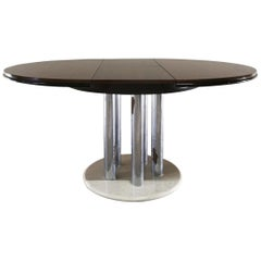 Midcentury Dining Table by Livenza in Veneered Mahogany Chromed Metal, Marble