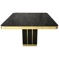 Midcentury Dining Table in Black Lacquered Wood and Brass Finishes, Italy, 1970s