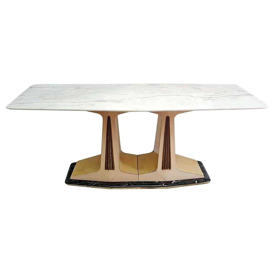 Midcentury Dining Table in Parchment with Marble Top and Base