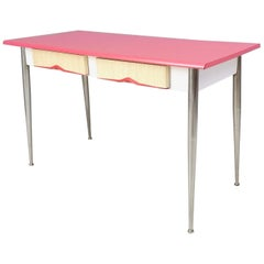 Midcentury Dining Table with a Watermelon Pink Formica Top, Italy, 1950s