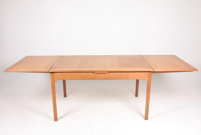 Danish Midcentury Dining Table in Patinated Oak Designed by Kaare Klint, 1950s