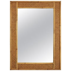 Midcentury Dior & Gabriella Crespi Style Rattan and Bamboo Rectangular Mirror