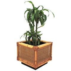 Midcentury Dior Home Crespi Style Rattan and Bamboo Planter, Spain, 1970s