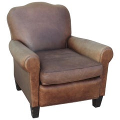 Midcentury Distressed Leather Club Chair