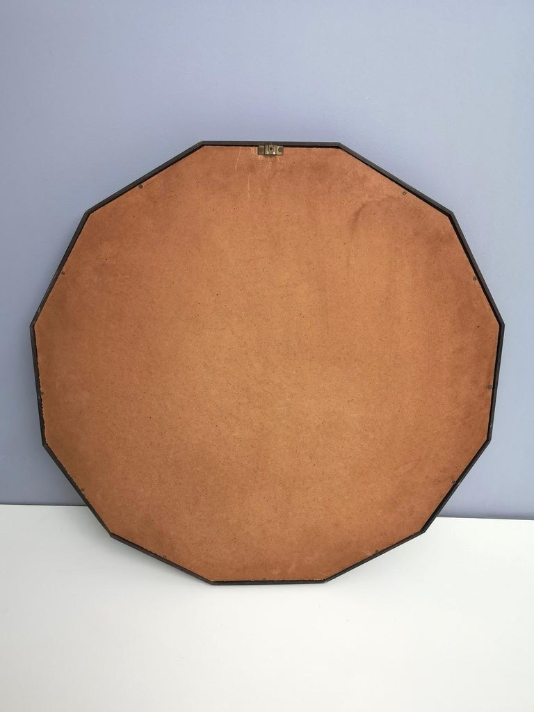 Mid-Century Modern Midcentury Dodecagonal Solid Mahogany Wall Mirror by Dino Cavalli, Italy 1970s For Sale