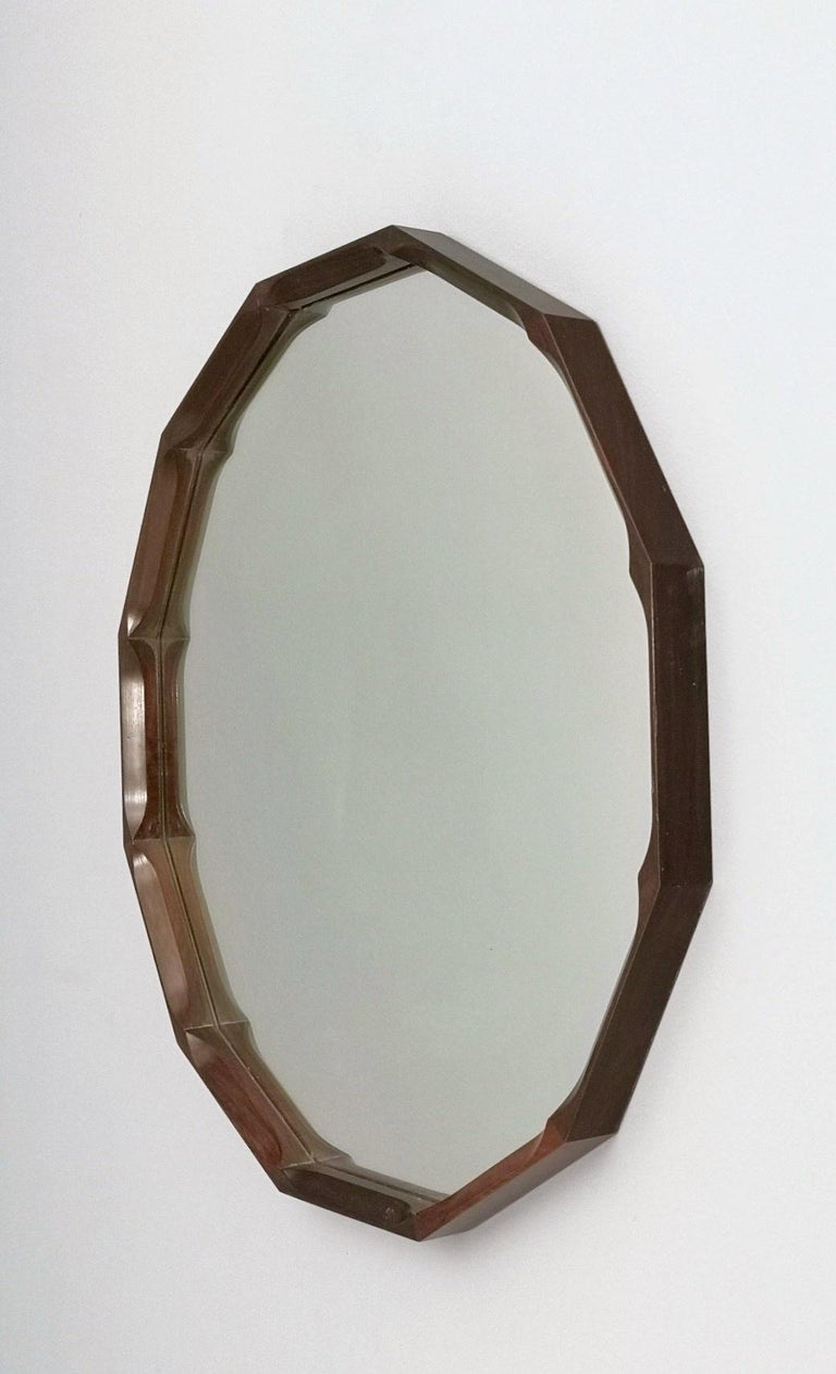 Midcentury Dodecagonal Solid Mahogany Wall Mirror by Dino Cavalli, Italy 1970s In Excellent Condition For Sale In Bresso, Lombardy