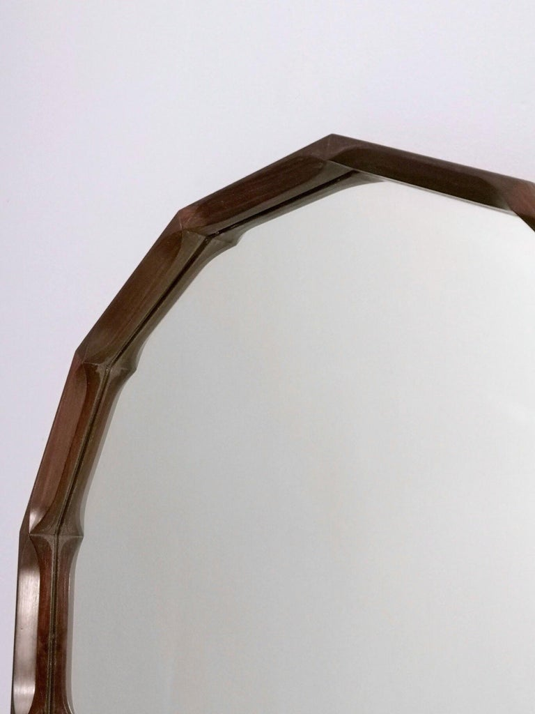 Late 20th Century Midcentury Dodecagonal Solid Mahogany Wall Mirror by Dino Cavalli, Italy 1970s For Sale