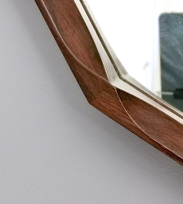 Midcentury Dodecagonal Solid Mahogany Wall Mirror by Dino Cavalli, Italy 1970s For Sale 2