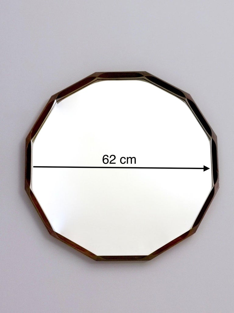 Midcentury Dodecagonal Solid Mahogany Wall Mirror by Dino Cavalli, Italy 1970s For Sale 3