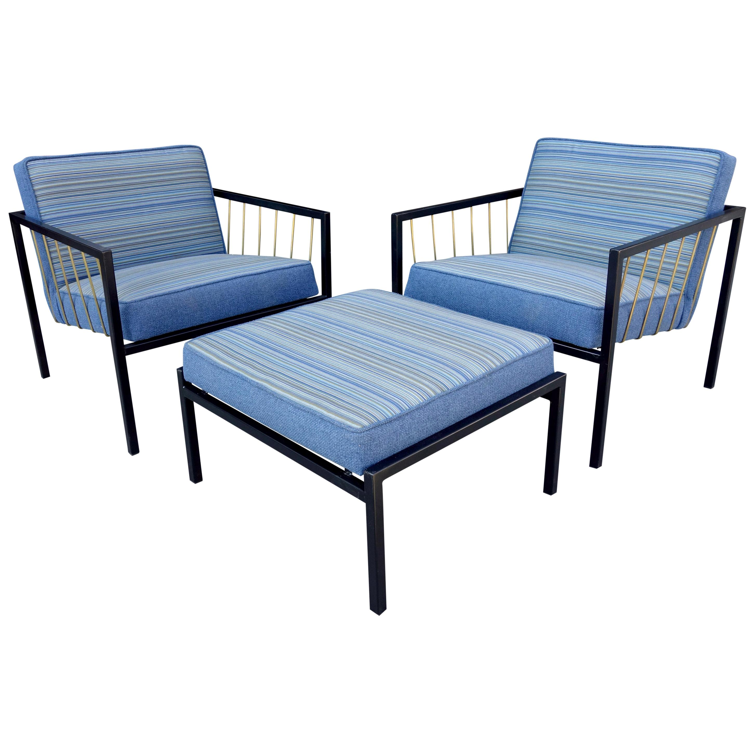 Midcentury Don Knorr Lounge Chairs and Ottoman