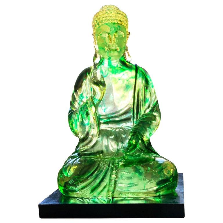 Midcentury Dorothy Thorpe Lucite Citrine Gautama Buddha Lotus Sculpture, 1960s For Sale