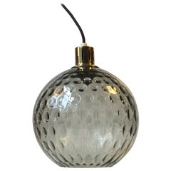 Midcentury Dotted Glass and Brass Pendant Lamp from Orrefors, 1960s