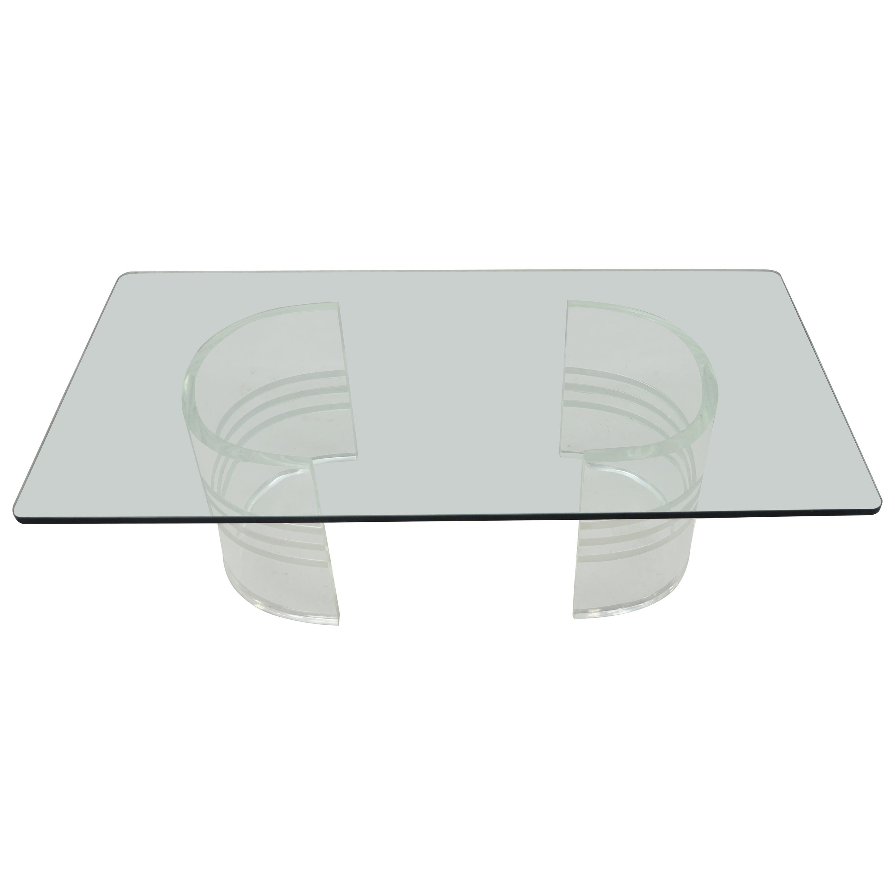 Midcentury Double Pedestal Curved Lucite Base Rectangular Glass Coffee Table