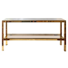 Midcentury Double Shelved Metal and Glass Console Table, by Belgo Chrome