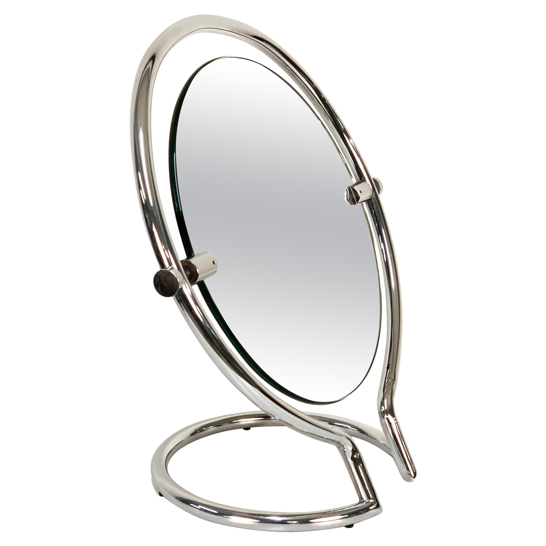 Midcentury Double Sided Italian Round Chromed Steel Dressing Mirror, 1970s