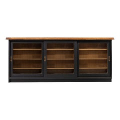 Midcentury Double Sided Black Painted Oak Shop Counter. Perfect Kitchen Island.