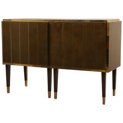 Midcentury Dove-Gray Colored Glass and Brass Sideboards, 2021