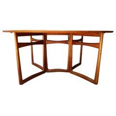 Midcentury Drop-Leaf Solid Teak Dining Table by Peter Hvidt & Orla Molgaard Ni