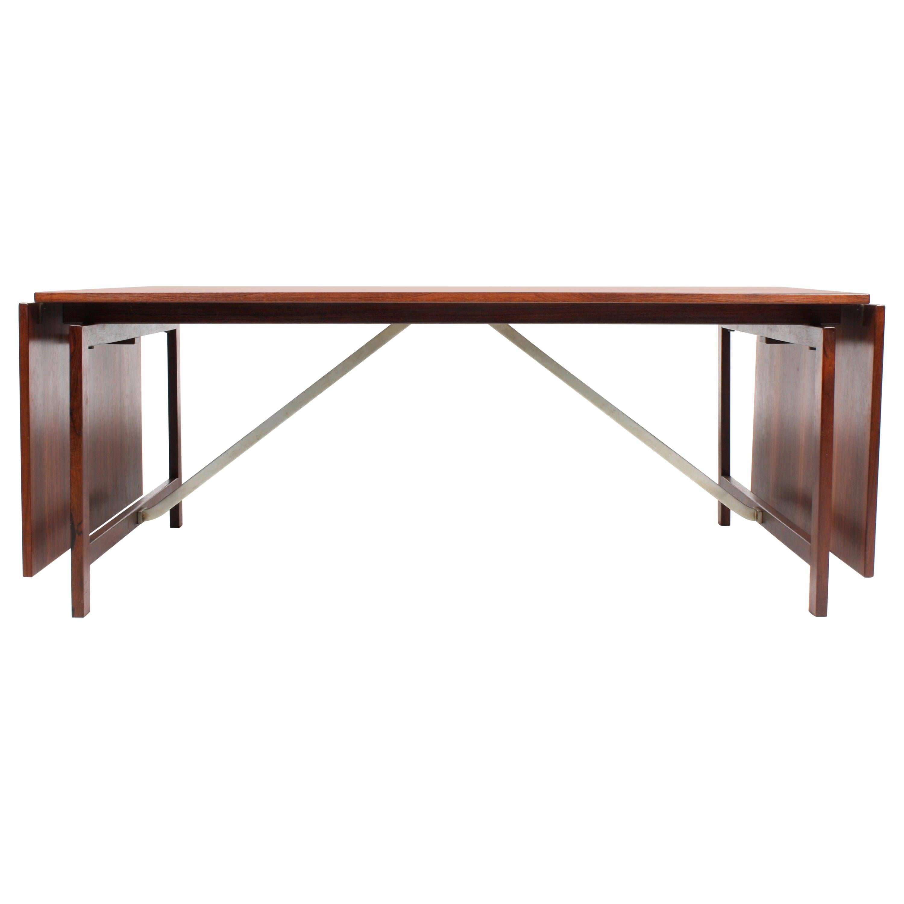 Large Midcentury Drop-Leaf Table in Rosewood, 1950s