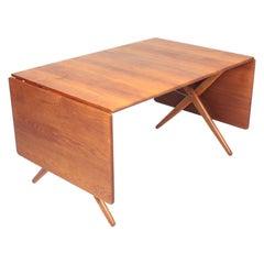 Midcentury Drop-Leaf Table in Solid Oak Model AT-309 by Hans Wegner, 1950