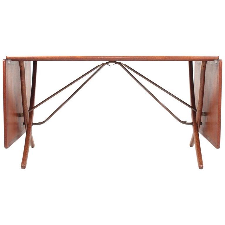 Midcentury Drop-Leaf Table in Teak Model l AT-304 by Hans Wegner, 1950 For Sale