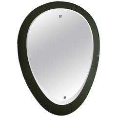 Midcentury Drop Thick Gray-Colored Mirror Italian Fontana Arte Attributed, 1960s