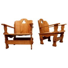 Midcentury Dutch Country Pine Throne Chairs