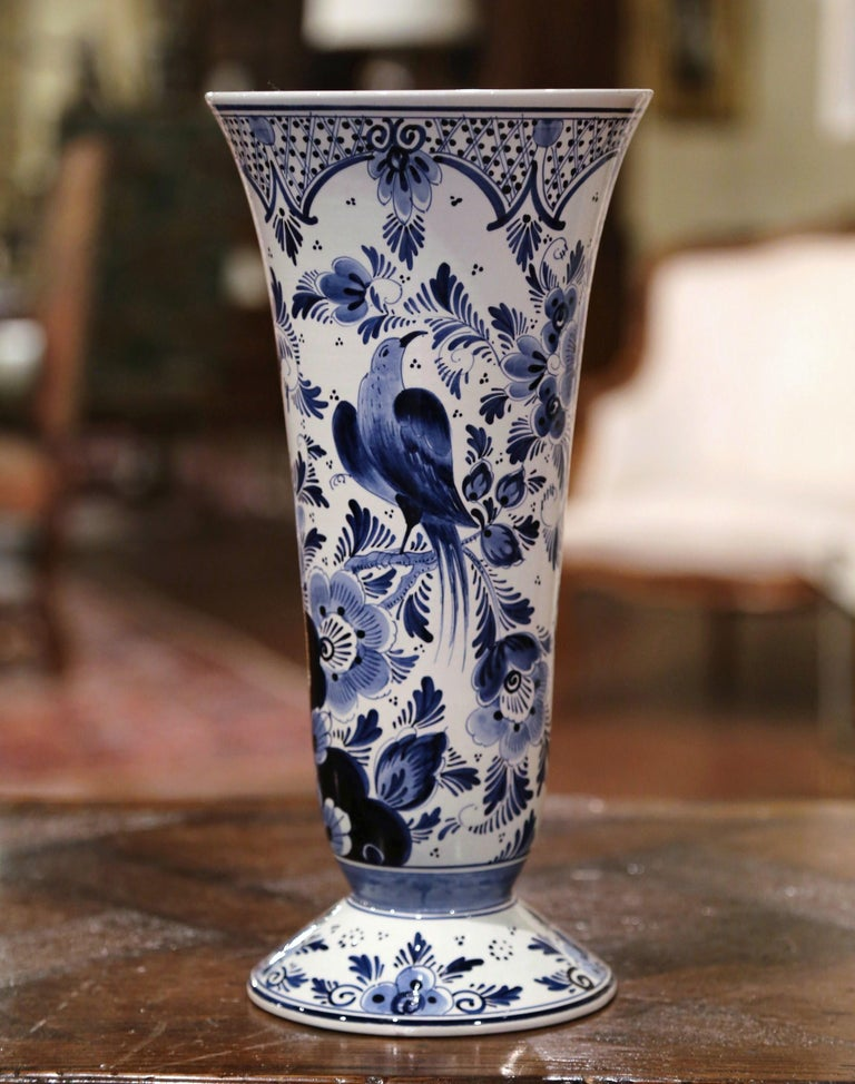Midcentury Dutch Hand Painted Blue and White Delft Faience Vase with Bird Motif In Excellent Condition For Sale In Dallas, TX