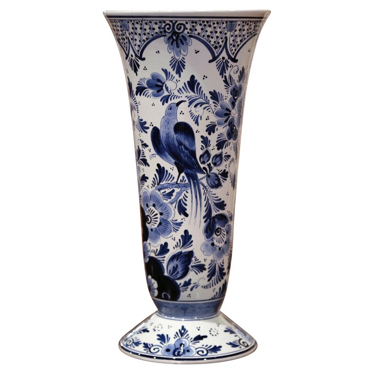 Midcentury Dutch Hand Painted Blue and White Delft Faience Vase with Bird Motif For Sale