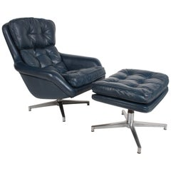Midcentury DUX Form 7 Swivel Lounge and Ottoman Des. Alf Svensson