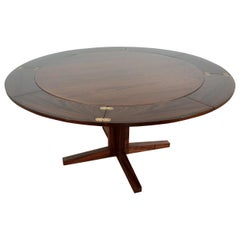 Midcentury Dyrlund Rosewood Lotus Flip Flap Extendable Dining Table