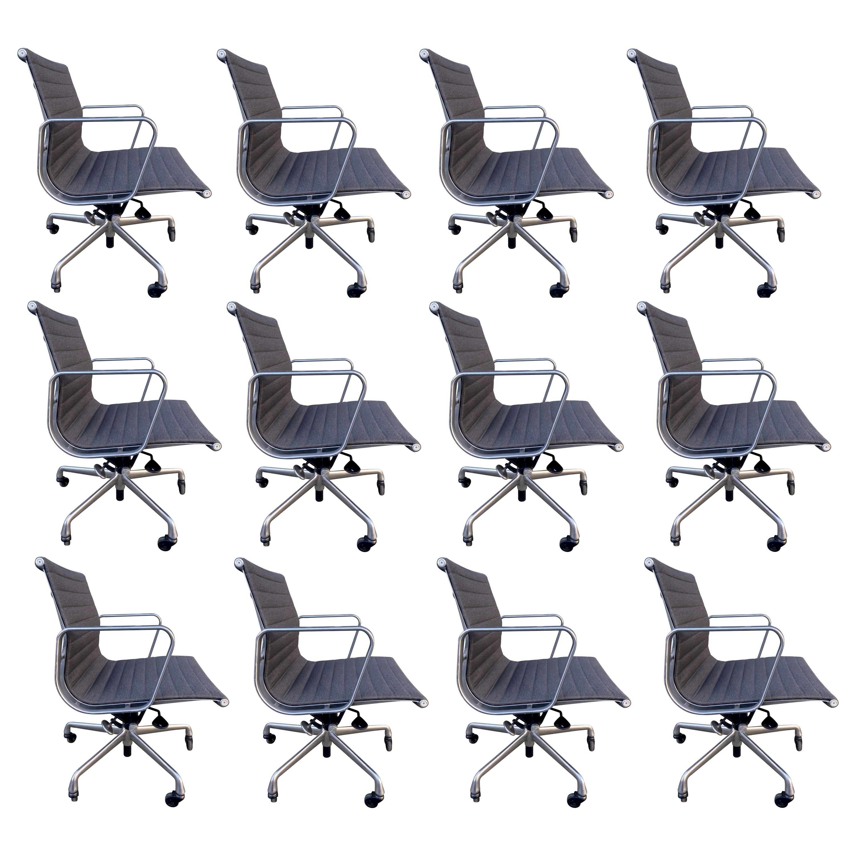 Midcentury Eames Aluminum Group Chairs in Charcoal Gray Fabric