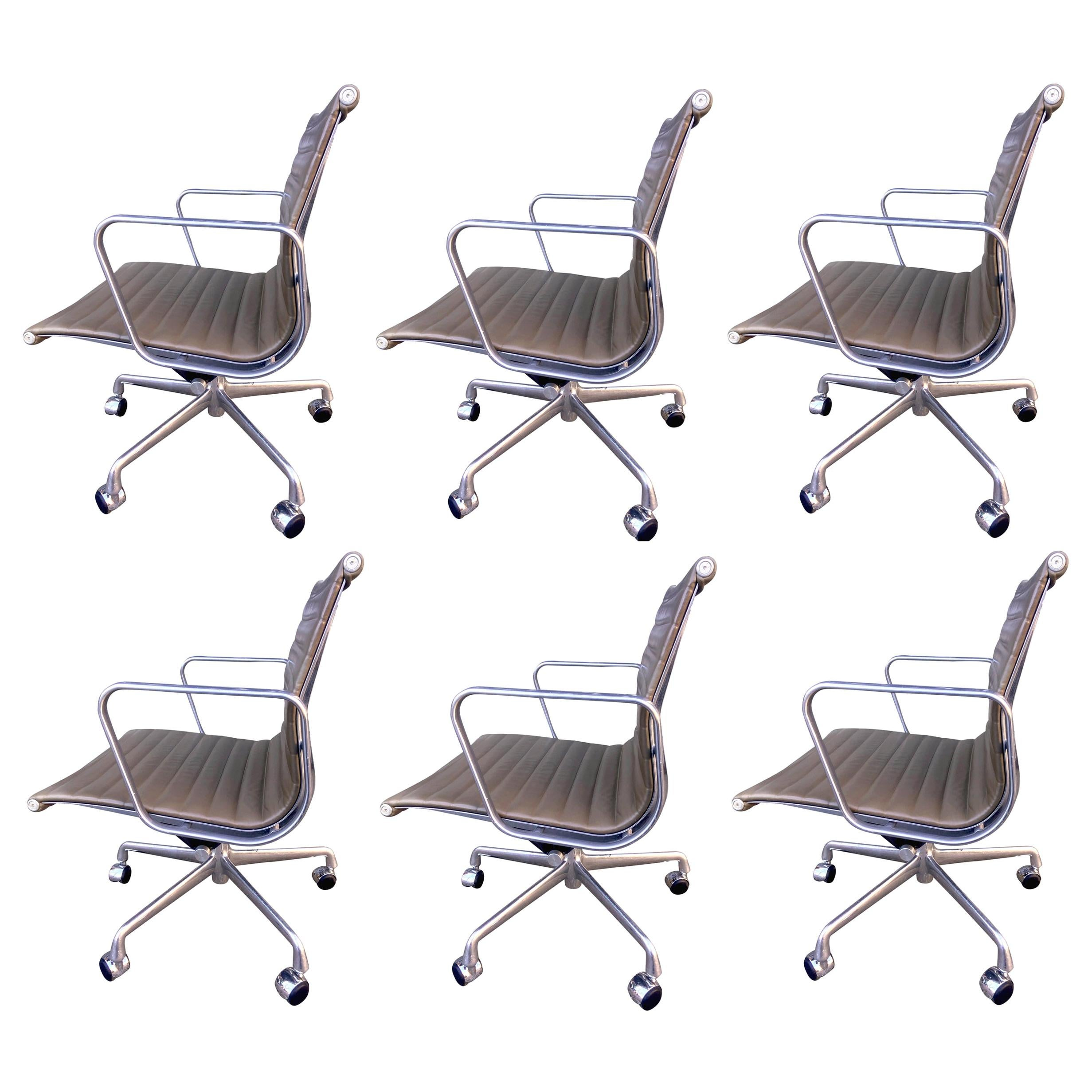 Midcentury Eames Aluminum Group Chairs in Tan / Brown Leather