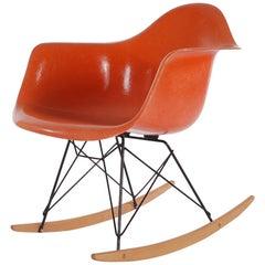 Midcentury Eames for Herman Miller Fiberglass Rocking Lounge Chair in Orange