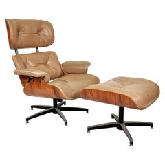 Midcentury Eames Style Leather Lounge Chair and Ottoman