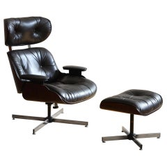 Midcentury Eames Style Plycraft Lounge Chair and Ottoman