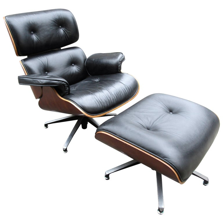 Midcentury Eames Style Swivel Lounge Chair and Ottoman For Sale