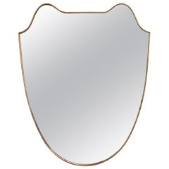 Midcentury Eared Crest-Shaped Italian Wall Mirror with Brass Frame, circa 1950s