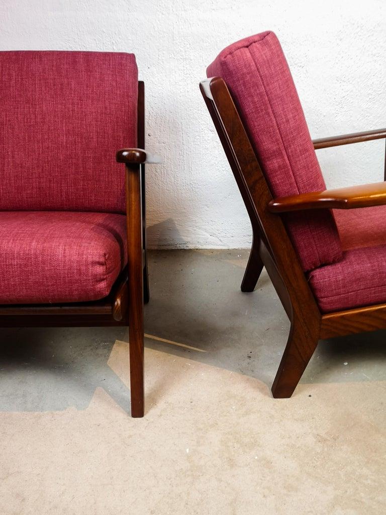 Midcentury Easy Chairs Model Ge-88 Massive Teak Wood GETAMA, Denmark, 1960s 3