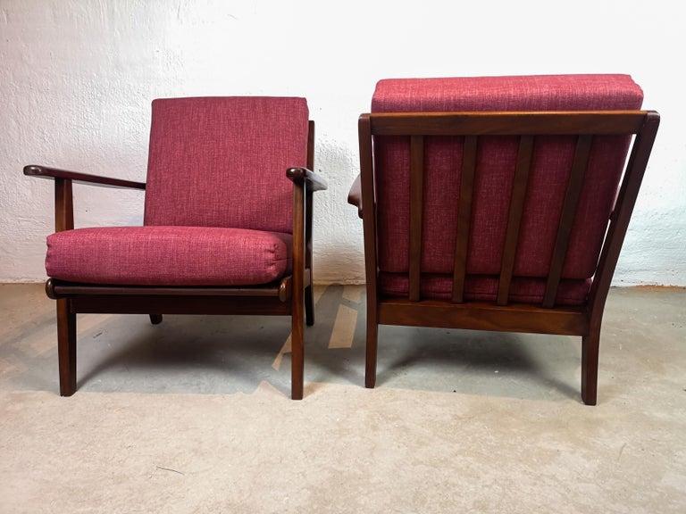 Midcentury Easy Chairs Model Ge-88 Massive Teak Wood GETAMA, Denmark, 1960s 4