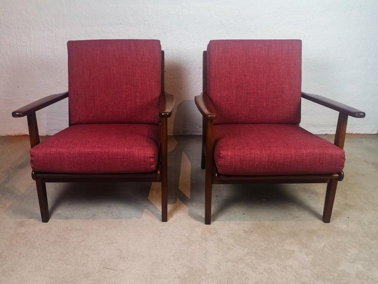 Mid-Century Modern Midcentury Easy Chairs Model Ge-88 Massive Teak Wood GETAMA, Denmark, 1960s