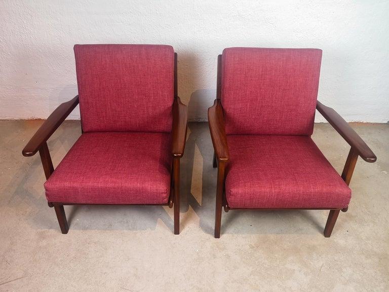 Danish Midcentury Easy Chairs Model Ge-88 Massive Teak Wood GETAMA, Denmark, 1960s