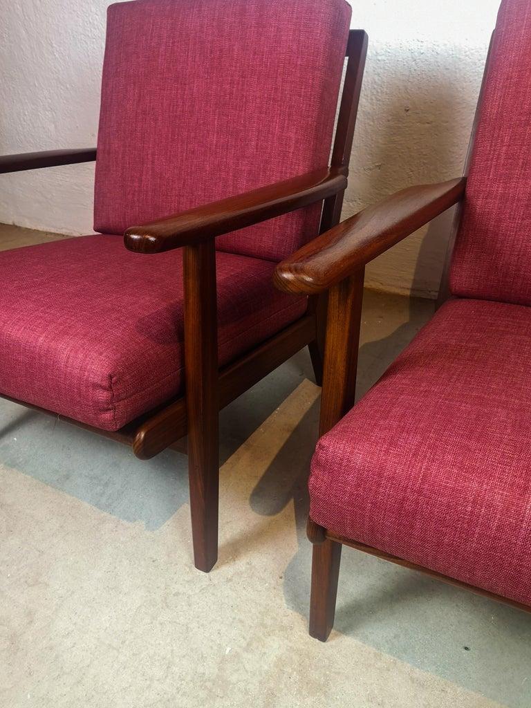 Midcentury Easy Chairs Model Ge-88 Massive Teak Wood GETAMA, Denmark, 1960s In Good Condition In Langserud, SE