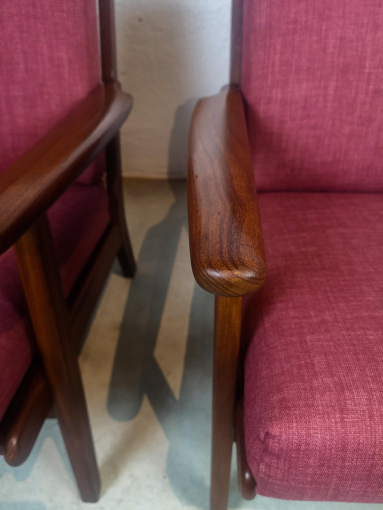 Mid-20th Century Midcentury Easy Chairs Model Ge-88 Massive Teak Wood GETAMA, Denmark, 1960s