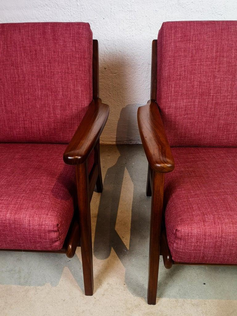 Fabric Midcentury Easy Chairs Model Ge-88 Massive Teak Wood GETAMA, Denmark, 1960s